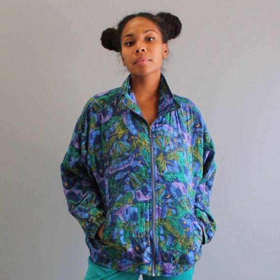 silk bomber jacket . zodiac print jacket . womens clothing .
