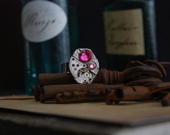 50% OFF Steampunk / gothic adjustable unisex chronograph ring with pink swarovski crystals