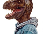 "Dino Diamond Cut 8.5 x 11"" print by Ray Young Chu (dinosaur haircut fade)"