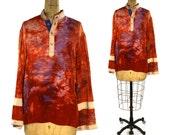 70s Hand Dyed Rayon Peasant Blouse / Vintage 1970s Tie Dye Hippie Boho Top / Long Flared Kimono Sleeve Bohemian Gypsy Ethnic Festival Shirt
