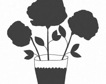 8x10 Art Print - Illustration - kitchen art, modern art, black and white, illustration, flowers - A PERFECT DAY (black)