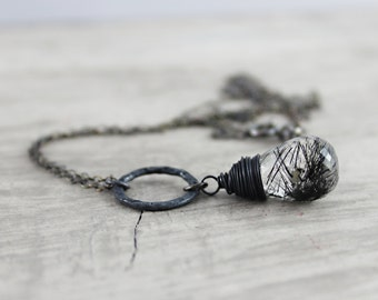 Black and White Necklace, Rutilated Quartz Necklace, Gemstone Necklace, Pendant, Circle, Oxidized Sterling Silver, Wire Wrap Necklace