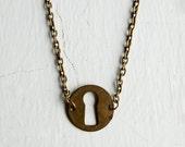 The Red Door Vintage Brass Keyhole Necklace / Escutcheon Necklace