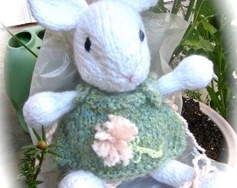 Knit Animal, Stuffed Mouse Doll, Hand Knit Hand Embroidered / Petite Fleur and Pink Dandelion Dreams/ Heirloom Collectible