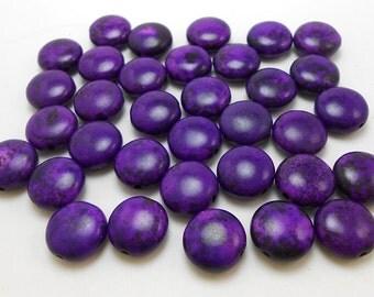32 Purple Howlite 12MM Coin Beads (H7057)