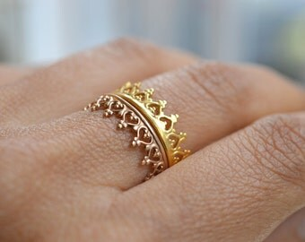 "Gold crown ring, wedding ring. engagement band. ""There is no queen without a crown""  vermeil band.  22k gold over silver"