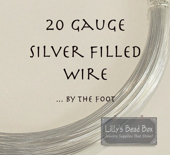 20 Gauge Wire, Silver FILLED Wire, By The Foot, Round, Half Hard Wire for Wire Wrapping Jewelry and Gemstones, Jewelry Supplies