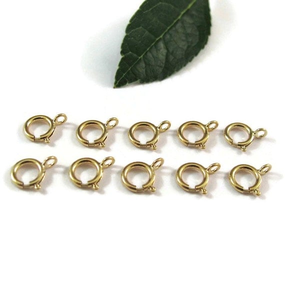 Small Gold Clasp, Ten (10) Gold Filled Spring Ring Clasps, 6mm Spring Rings, Jewelry Supplies, Gold Findings, Tiny Gold Clasp (F-146f)