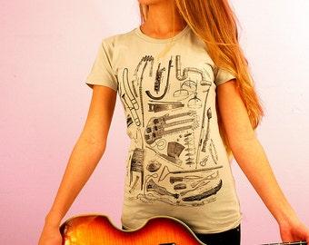 Music Shirt - Musician Gift - Women's Graphic Tee - Odd Musical Instruments - Trombone Shirt - Theramin - Weird