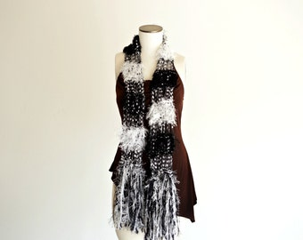 Black and White See Through Scarf Lightweight for All Seasons