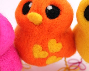 Needle Felted Bird Orange and Sunny Yellow Love Bird Tweet