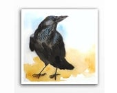 Raven Art PRINT / Watercolor painting / Black bird artwork / Crow raven art / Raven painting / Raven lover / Wildlife woodland nature