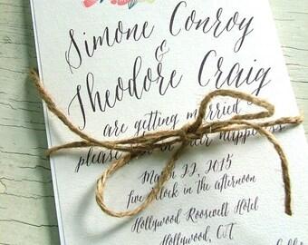 Floral Wedding Invitation | Modern Flower Invitations |  Pink and Mint Green Wedding Invitations | Flowing font Invitation
