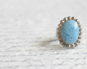 Vintage 1960s Blue Turquoise Ring • 60s Sterling Silver Ring • Southwestern Navajo Bohemian Jewelry Ring