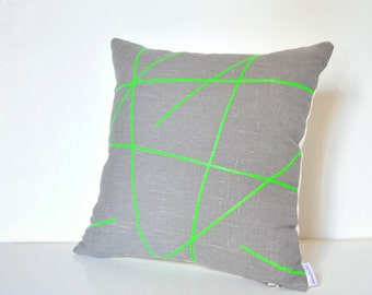 Neon green design on grey linen pillow cover 18 x 18 inches