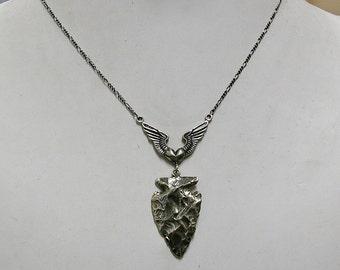 "Cupid's Arrow Necklace, HEART, WINGS & ARROWHEAD, Sterling Silver, 17.5"" chain, Valentine's Day, ooak"