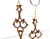 Steampunk Earrings Clock hand Victorian inspired distressed Antique gold colored - Time Waits For No Woman