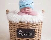 Baby Hat, Newborn Photo Prop, Blue Monster Newborn Baby Hat, Knit Baby Hat Photography Prop