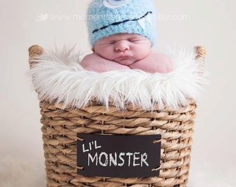 Baby Hat, Newborn Photo Prop, Blue Monster Newborn Baby Hat, Knit Baby Hat Photography Prop