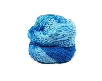 300 Yards Hand Dyed Thread Cotton Crochet Thread Size 10 3 Ply Specialty Thread Blue Ombre Thread Hand Painted Fine Cotton Yarn
