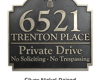 "Pineapple Private Drive Address Sign 16""W x 15""H by Atlas Signs and Plaques"