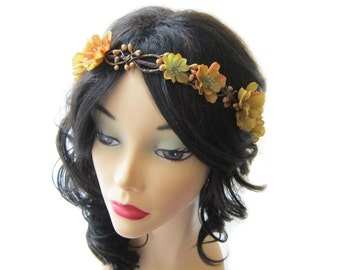Fall flower headpiece,  woodland hair wreath, mustard brown flower crown