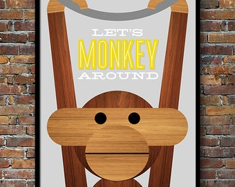 Retro poster, Danish design, Kay Bojesen monkey, Mid Century Modern, nursery art, kitchen art - Let's Monkey Around 50 x 70cm Yellow