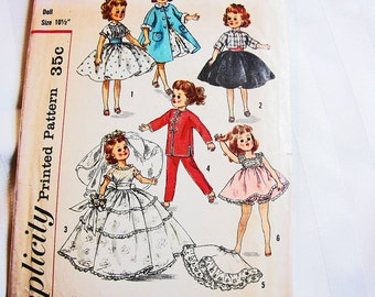 """1950s Doll Clothes Pattern Doll Pattern Dresses Wedding Gown Coat Nightgown size 10 1/2"""" fits dolls Little Miss Revlon Miss Ginger"""