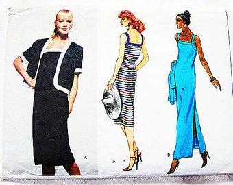 Vogue Pattern Women Dress Pattern Misses size 10 UNCUT 2 lengths Sundress, Evening Length Dress Slit Skirt with Jacket Sewing Pattern