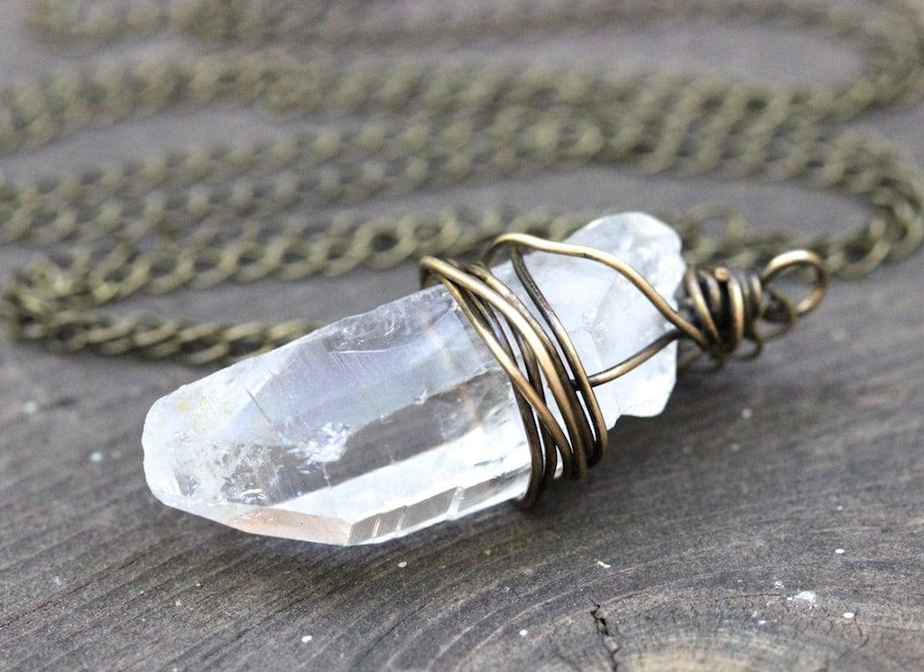raw crystal necklace big crystal necklace quartz crystal. Black Bedroom Furniture Sets. Home Design Ideas