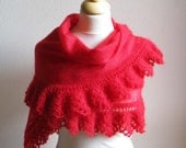 Handwoven and crocheted stole  - kid mohair