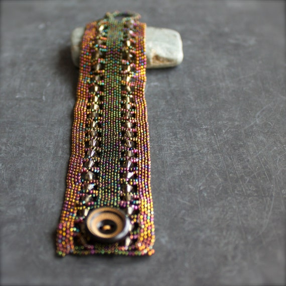 SALE - Green Brown Beadwork Cuff Bracelet Wood Glass Beaded Beadwoven Wide Statement Unique Tapestry Jewelry