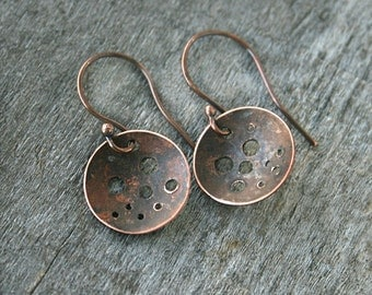 Copper Earrings - Rustic Jewelry - Disc Earrings - Oxidized Jewelry - Small Dangle Earrings - Copper Earrings - Copper Anniversary Gift
