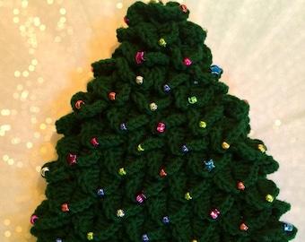 Beaded Christmas Tree Hat CROCHET PATTERN Instant Download Sizes Preemie - Adult