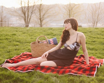 Picnic Blanket- Wool Throw Blanket, Throw, Boho, Bohemian, Plaid