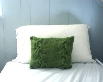 Green Wool Braided Cable Knit Pillow Sham