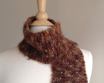 Chocolate brown wool scarf, warm winter scarf, brown knit scarf, chocolate brown scarf, soft brown women's scarf, brown winter scarf
