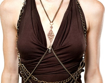 Brass Chain Halter and Anahata Body Chain