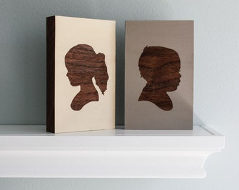 Personalized Children's Portrait Engraved on Painted Walnut Wood  Block - Gift Idea