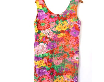 Pink Floral Print Mini Shift Dress Small