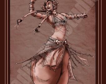 Belly Dancer in sepia art print