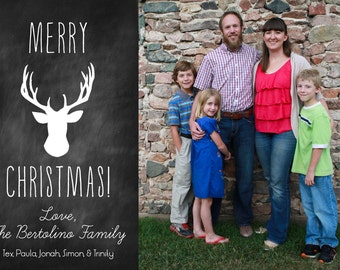 Rustic Chalkboard Deer Digital Christmas Card Template - Buck with Antlers - Rustic Retro - Merry Christmas
