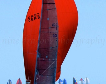 Red Sailboat Photography, Nautical Wedding Gift, Red Coastal Decor Beach Art, Nautical Print,Red Sails Beach Decor,Sailboat Art,Nautical Art
