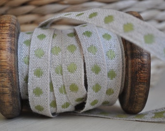 French Linen Trim with Lime Green or White Spots - 0.5 yard