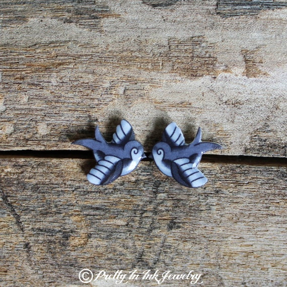 Pudgy Swallow Tattoo Earrings in Black and Grey