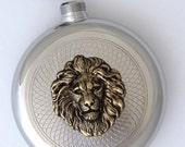 Lion Flask Gothic Victorian Round Silver Plated Vintage Inspired Steampunk Style New