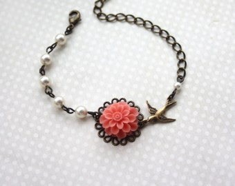 Light Coral Mum Flower, Swarovski Ivory Pearls, Tiny Swallow Bird Adjustable Bracelet. Bridesmaid Gifts.  Rustic Coral Wedding Gifts