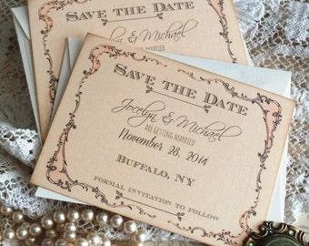 CUSTOM ORDER DEPOSIT for katnelson28...Vintage Romantic Fancy Frame Save the Date Cards Handmade by avintageobsession on etsy
