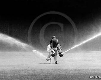 Caddy Stepping Over Sprinkler, Golf Art, Golf Caddy, Humor