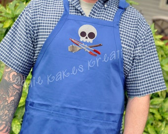 Personalized Mens Grilling Apron / Cool Skull Apron for Men / Mens BBQ Apron /  Monogrammed Apron / Gift for Men / Christmas Gift